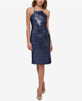 GUESS Sequined Apron Halter Dress
