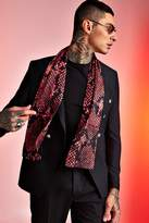 BoohoomanBoohooMAN Mens Red Snake Silky Dress Scarf, Red