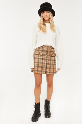 Ardene Faux Suede Plaid Mini Skirt