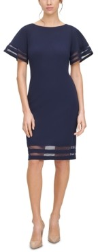 Jessica Howard Petite Illusion-Trim Sheath Dress