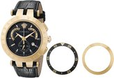 """Versace Men's 23C80D008 S009 """"V-Race"""" 18k Rose-Gold Plated Stainless Steel and Black Leather Watch"""