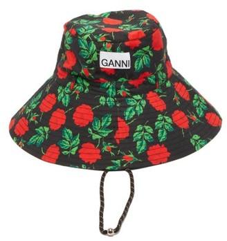 Ganni Rose-print Drawcord Cotton-poplin Bucket Hat - Red Multi