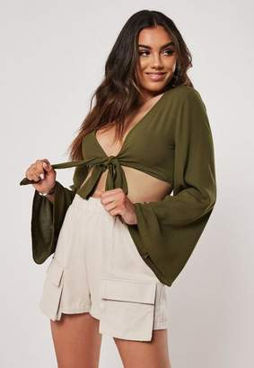Missguided Khaki Tie Front Flared Sleeve Crop Top