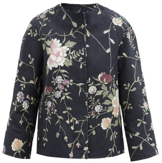 By Walid Ilana Upcycled Floral-jacquard Cotton Jacket - Black Multi