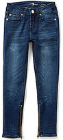 7 For All Mankind The Ankle Skinny Indigo-Wash Sanded Jeans