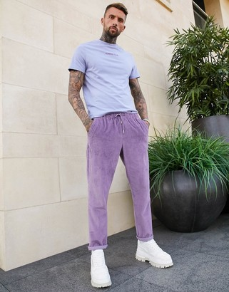 ASOS DESIGN cord slim trousers in washed purple
