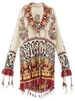 Etro Shawl-lapel Tasselled Cardigan - Womens - White Multi