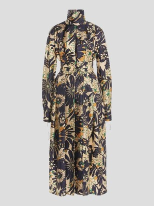 Victoria Beckham Floral Long Sleeve Midi Dress With Neck Tie