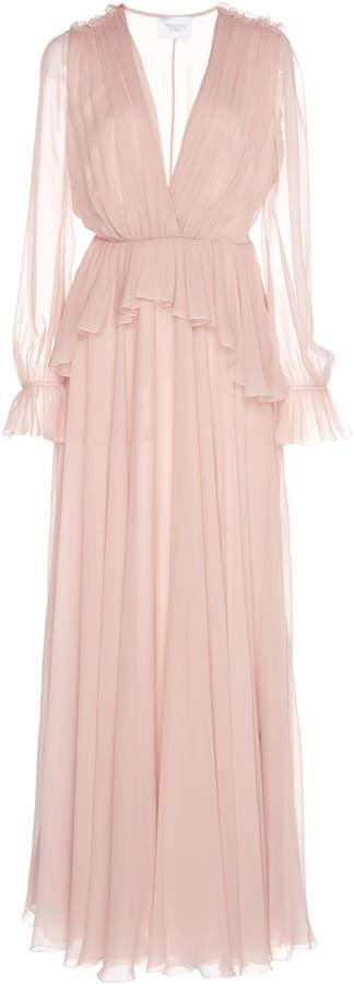 Giambattista Valli Peplum Waist Silk Dress