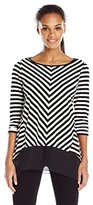 Notations Women's 3/4 Sleeve Stripe Top with Solid Sharkbite Hem