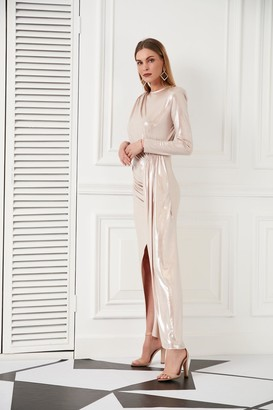 Jenerique Wedding Guest Dress in Metallic Pink Powder colour