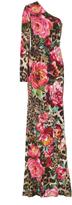 Naeem Khan One-Shoulder Printed Gown