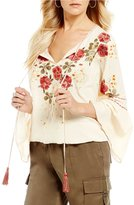 Chelsea & Violet Split V-Neck Bell Sleeve Embroidered Peasant Top