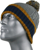 Gray Navy & Tan Cable Knit Rugby Beanie - Men