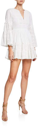 Alexis Norwa V-Neck Tiered Eyelet & Lace Mini Dress