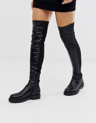 Asos Design DESIGN Kick Start flat thigh high boots in black knit mix