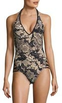 Carmen Marc Valvo Ornamental Floral Halter One-Piece Swimsuit