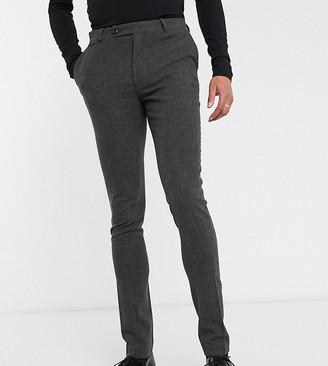 Asos DESIGN Tall wedding super skinny suit pants in wool mix herringbone in charcoal
