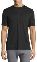 Helmut Lang Short-Sleeve Henley Shirt, Black