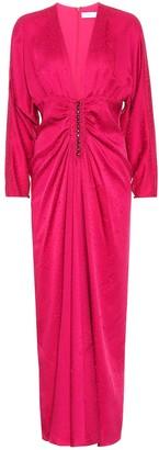 Racil Rita leopard-jacquard satin gown