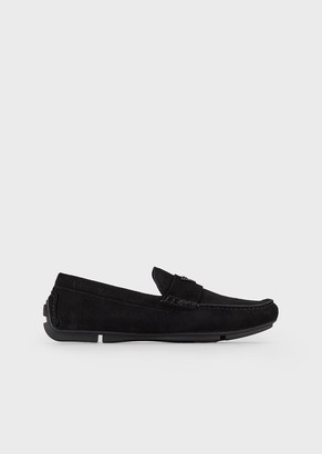 Emporio Armani Driver Moccasins In Suede With Logo