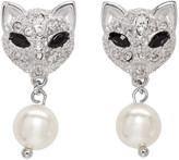 Miu Miu Silver Cat Crystal Earrings