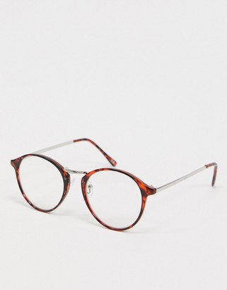 clear Asos Design ASOS DESIGN round fashion glasses in amber tort with lenses