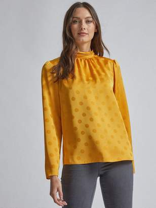 Dorothy Perkins Long Sleeve Spot Jacquard Top - Ochre