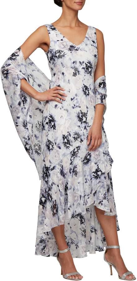 Alex Evenings Floral Burnout High/Low Chiffon Evening Dress with Wrap