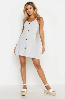boohoo Petite Ribbed Button Swing Dress