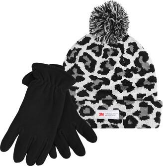 Teddyts Ladies Thinsulate Leopard Print Winter Bobble Hat and Luxury Gloves (Silver Grey Medium)