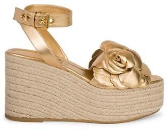 Valentino Atelier Metallic Flower Espadrille Platform Sandals