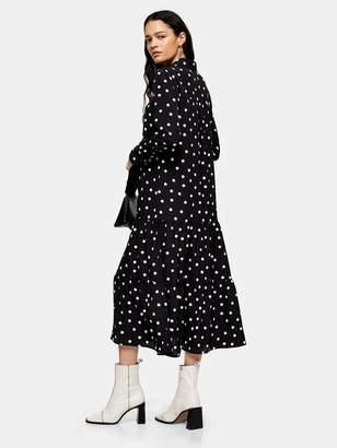 Topshop Smock Peplum Midi Shirt Dress - Mono