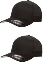 Flexfit Flex fit Trucker Cap - 6511 - (2Pack) 2-Solid Black Hats