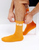 Stussy Jacquard Logo Socks In Orange