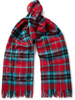 Acne Studios Ontario Fringed Embroidered Checked Wool Scarf