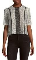 Nanette Lepore Ruffle Sleeve Lace Top
