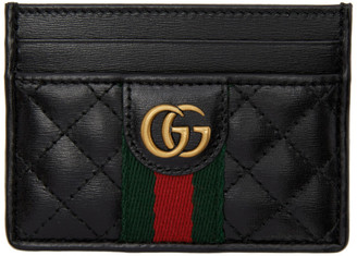 Gucci Black GG Web Card Holder