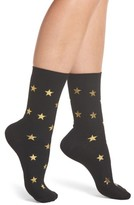Nordstrom Women's Foil Star Ribbed Crew Socks