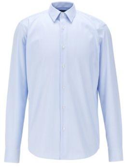 HUGO BOSS Regular Fit Shirt In Anti Odor Cotton - Light Blue