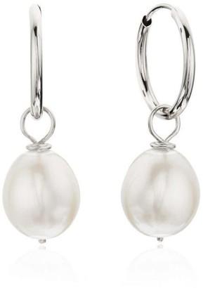 Lily & Roo Silver Large Pearl Drop Hoop Earrings