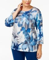 Alfred Dunner Plus Size Arizona Sky Collection Mosaic Printed Necklace Top