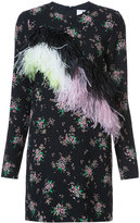 MSGM floral print feather trim dress - women - Polyester - 38