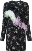 MSGM floral print feather trim dress