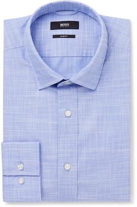 HUGO BOSS Blue Joy Slim-Fit Checked End-On-End Cotton Shirt