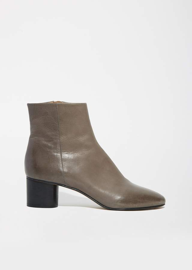 Isabel Marant Danay Cylinder Heel Leather Boots Taupe