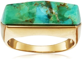 """Barse Bronze and Genuine Turquoise """"Slice"""" Ring Size 8"""