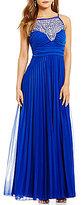 B. Darlin High Neck Jeweled Illusion Yoke Pleated Sheer Matte Jersey Long Dress