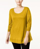 Style&Co. Style & Co Plus Size Chiffon-Hem Top, Only at Macy's