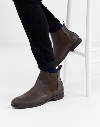 Jack and Jones faux leather chelsea boots in brown